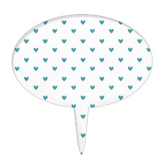 Teal Glitter Hearts Pattern Cake Toppers