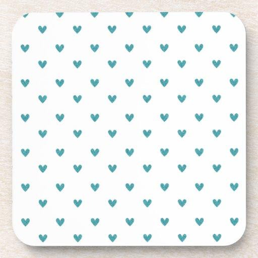 Teal Glitter Hearts Pattern Beverage Coasters