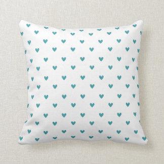 Teal Glitter Hearts Pattern Pillow