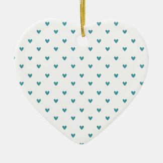Teal Glitter Hearts Pattern Christmas Tree Ornament