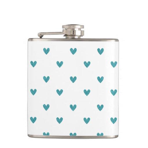 Teal Glitter Hearts Pattern Hip Flasks
