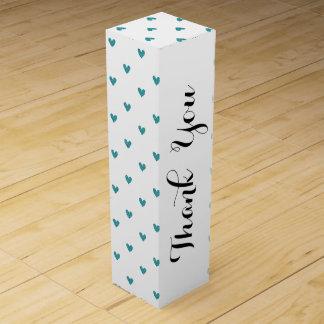 Teal Glitter Hearts Pattern Wine Bottle Boxes
