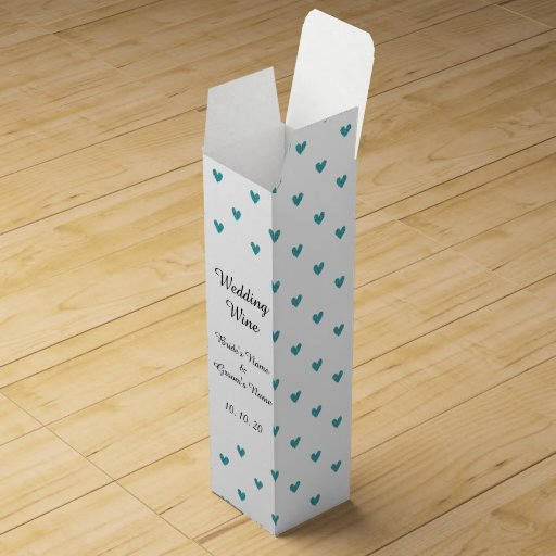 Teal Glitter Hearts Pattern Wine Boxes