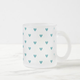 Teal Glitter Hearts Pattern Frosted Glass Mug