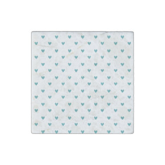 Teal Glitter Hearts Pattern Stone Magnet