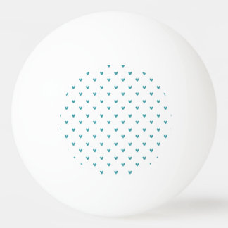 Teal Glitter Hearts Pattern Ping Pong Ball