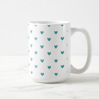 Teal Glitter Hearts Pattern Coffee Mug
