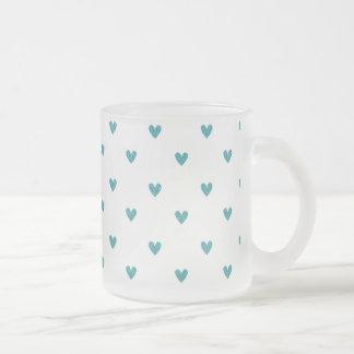Teal Glitter Hearts Pattern Coffee Mugs