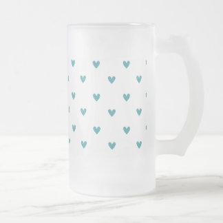 Teal Glitter Hearts Pattern Glass Beer Mug