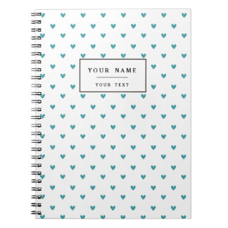 Teal Glitter Hearts Pattern Spiral Note Books