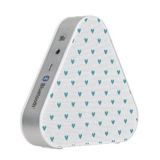 Teal Glitter Hearts Pattern Bluetooth Speaker