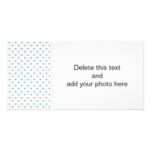 Teal Glitter Hearts Pattern Custom Photo Card
