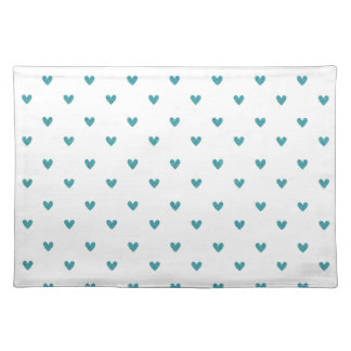 Teal Glitter Hearts Pattern Placemat