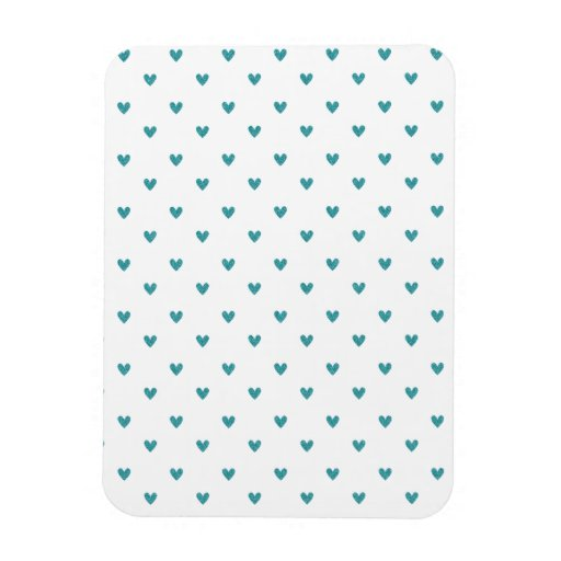 Teal Glitter Hearts Pattern Vinyl Magnet