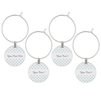 Teal Glitter Hearts Pattern Wine Charms