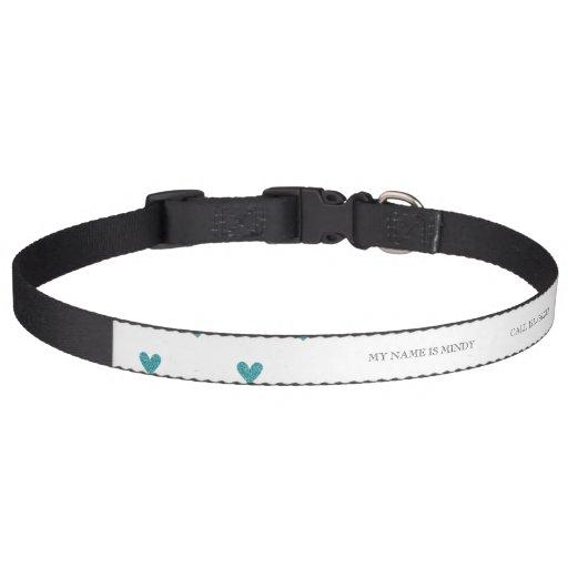 Teal Glitter Hearts Pattern Dog Collars