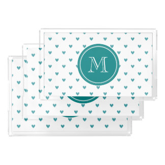 Teal Glitter Hearts with Monogram