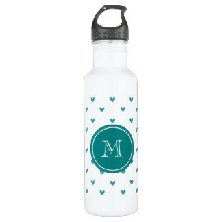 Teal Glitter Hearts with Monogram 710 Ml Water Bottle