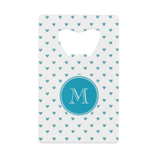 Teal Glitter Hearts with Monogram Credit Card Bottle Opener