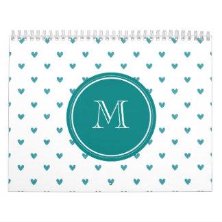 Teal Glitter Hearts with Monogram Wall Calendar