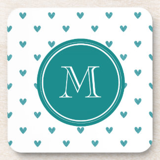 Teal Glitter Hearts with Monogram Beverage Coaster