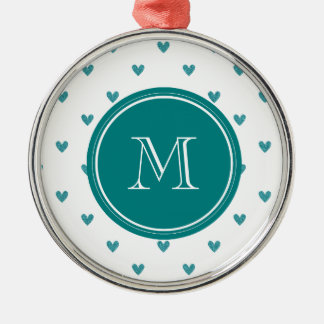 Teal Glitter Hearts with Monogram Ornaments