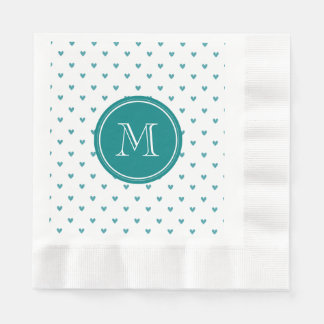 Teal Glitter Hearts with Monogram Disposable Serviettes