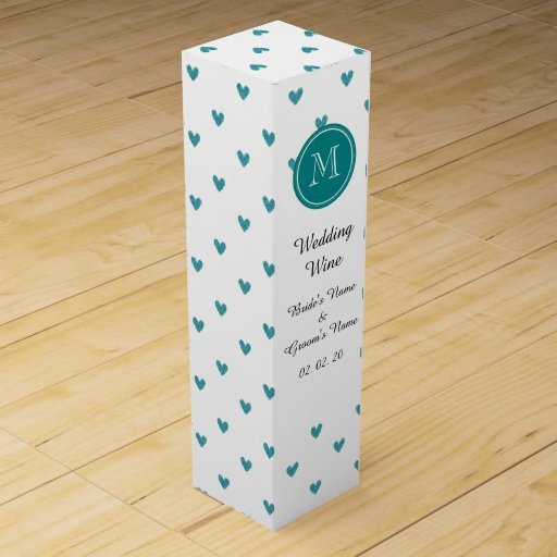 Teal Glitter Hearts with Monogram Wine Bottle Box