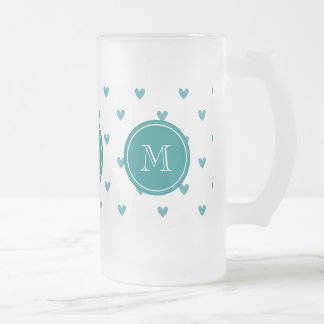 Teal Glitter Hearts with Monogram Frosted Glass Mug