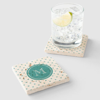 Teal Glitter Hearts with Monogram Stone Coaster