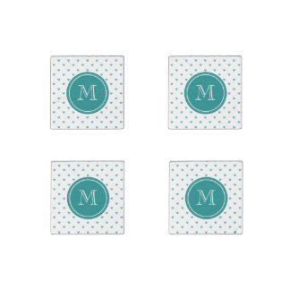 Teal Glitter Hearts with Monogram Stone Magnet