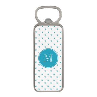 Teal Glitter Hearts with Monogram Magnetic Bottle Opener