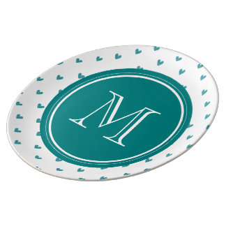 Teal Glitter Hearts with Monogram Porcelain Plates