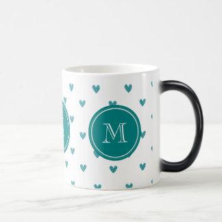 Teal Glitter Hearts with Monogram Coffee Mug