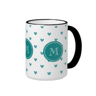 Teal Glitter Hearts with Monogram Mug