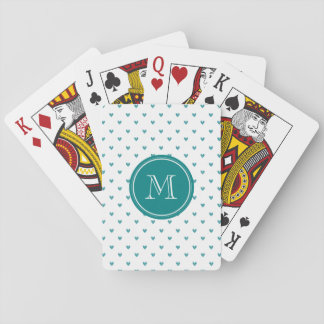 Teal Glitter Hearts with Monogram Poker Deck