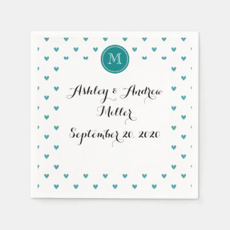 Teal Glitter Hearts with Monogram Paper Napkins
