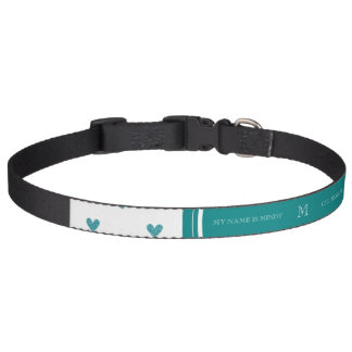 Teal Glitter Hearts with Monogram Pet Collars
