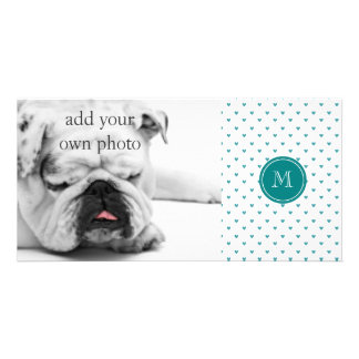 Teal Glitter Hearts with Monogram Photo Card Template