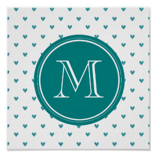 Teal Glitter Hearts with Monogram Print