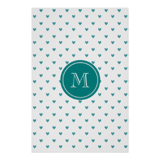 Teal Glitter Hearts with Monogram Posters