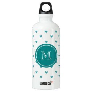 Teal Glitter Hearts with Monogram SIGG Traveller 0.6L Water Bottle