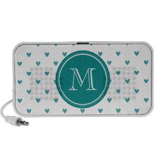 Teal Glitter Hearts with Monogram Mp3 Speaker