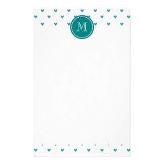 Teal Glitter Hearts with Monogram Stationery