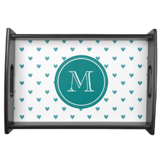 Teal Glitter Hearts with Monogram Service Tray