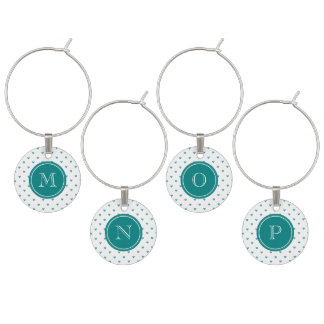 Teal Glitter Hearts with Monogram Wine Charm