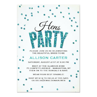 Teal Glitter Look Confetti Hens Party Card