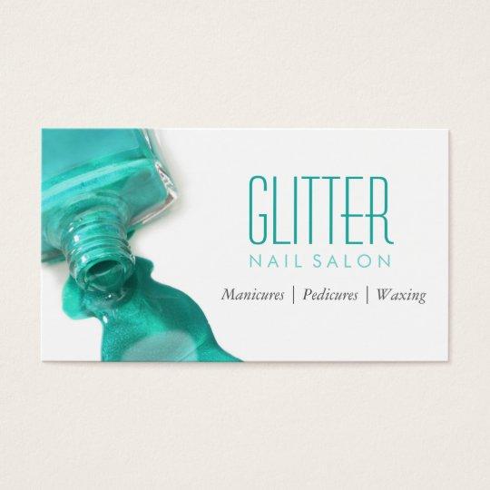 Teal Glitter Nail Salon Manicure - Stylish Beauty