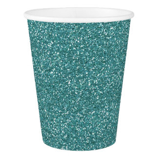 Teal Glitter Paper Cup