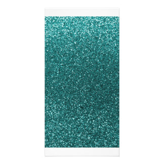 Teal glitter photo cards